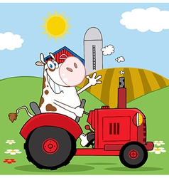Cow farmer waving and driving a red tractor vector