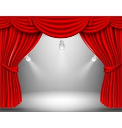 Red curtain with lights vector