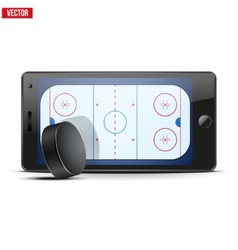 Mobile phone with ice hockey puck and field on the vector