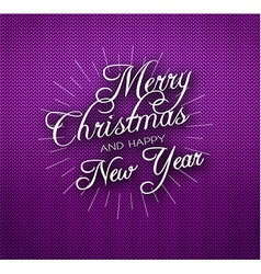 Christmas calligraphy on knitted pattern vector