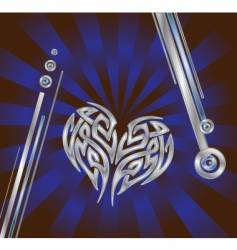 Silver blue heart composition vector