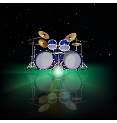 Abstract music background with drum kit and green vector