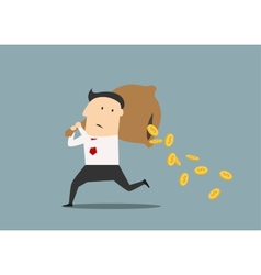 Businessman losing money from a bag vector