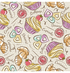 Background with cupcake croissant and cookie vector