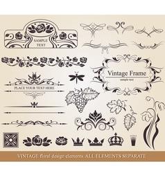 Vintage floral design elements vector