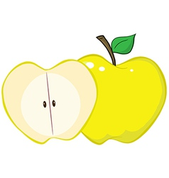Whole and cut yellow apple vector