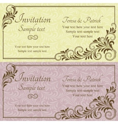 Baroque wedding invitation pink and yellow vector