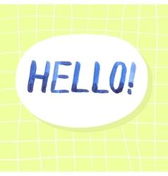 Blue watercolor lettering hello vector