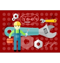 Man person with toolbox and wrench in hands vector