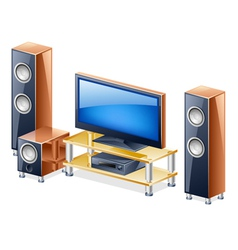 Home theater system with tv and speakers vector