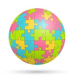 Puzzle jigsaw sphere isolated on white vector