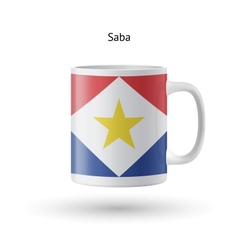 Saba flag souvenir mug on white background vector