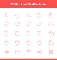 Set of thin line stroke weather icons vector