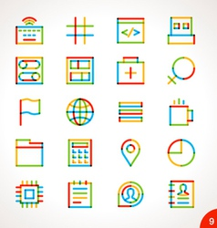 Highlighter line icons set 9 vector