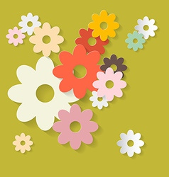 Retro flowers green paper background vector