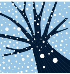Winter tree with falling snow vector