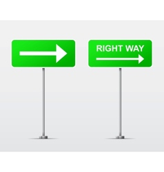 Right way street road sign isolated vector