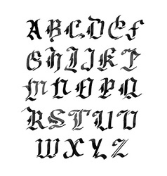 Hand drawn letters gothic style alphabet ink vector