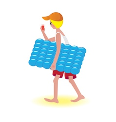 Air mattress boy vector