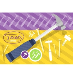 Hammer and nails hammer tool vector