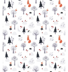 Pattern with foxes and trees vector
