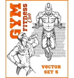 Men - bodybuilders gym bodybuilding vector