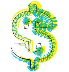 Sketch dollar symbol vector