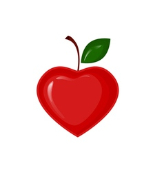 Red apple in the shape of heart vector