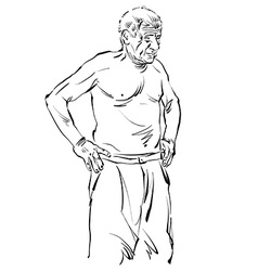Hand drawn of an old man black and white drawing vector