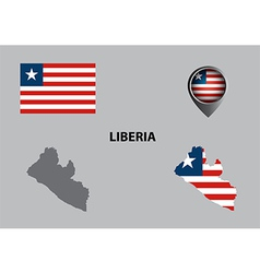 Map of liberia and symbol vector