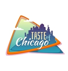 Taste of chicago banner flat town with title vector