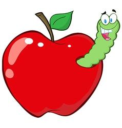 Worm in red apple vector