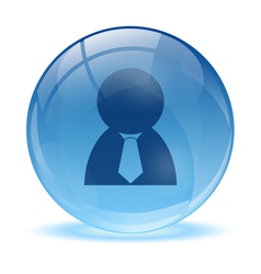 3d glass sphere and business man icon vector