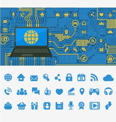 Blue computer board with a laptop vector