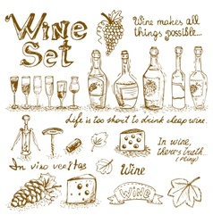 Set of wine elements vector