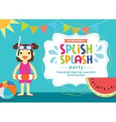 Birthday card invitation summer fun splash vector