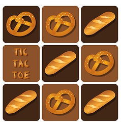 Tic-tac-toe of bread and pretzel vector