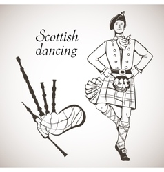 Scottish dancer and bagpipes vector
