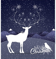 Abstract reindeer at night christmas background vector