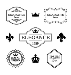 Set of vintage flourish frames borders and signs vector
