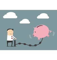 Businessman putting money to a piggy bank vector