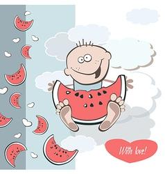 Happy birthday juicy watermelon vector