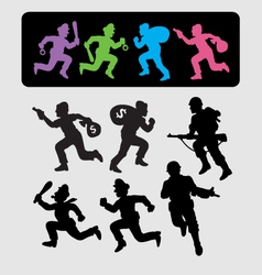 Running silhouettes 2 vector
