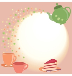 Tea card with teapot cups and flowers vector