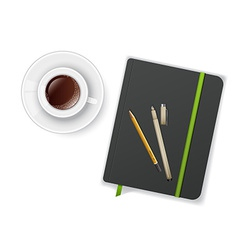 Notebook with pen and cup of coffee vector