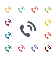 Call flat icons set vector