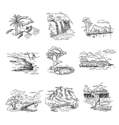 Hand drawn rough draft doodle sketch nature vector