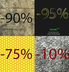 95 75 10 icon set of percent discount on abstract vector