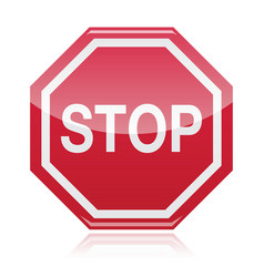 Stop warning road sign vector