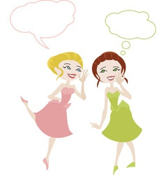 Two girls in cartoon style sharing secrets vector